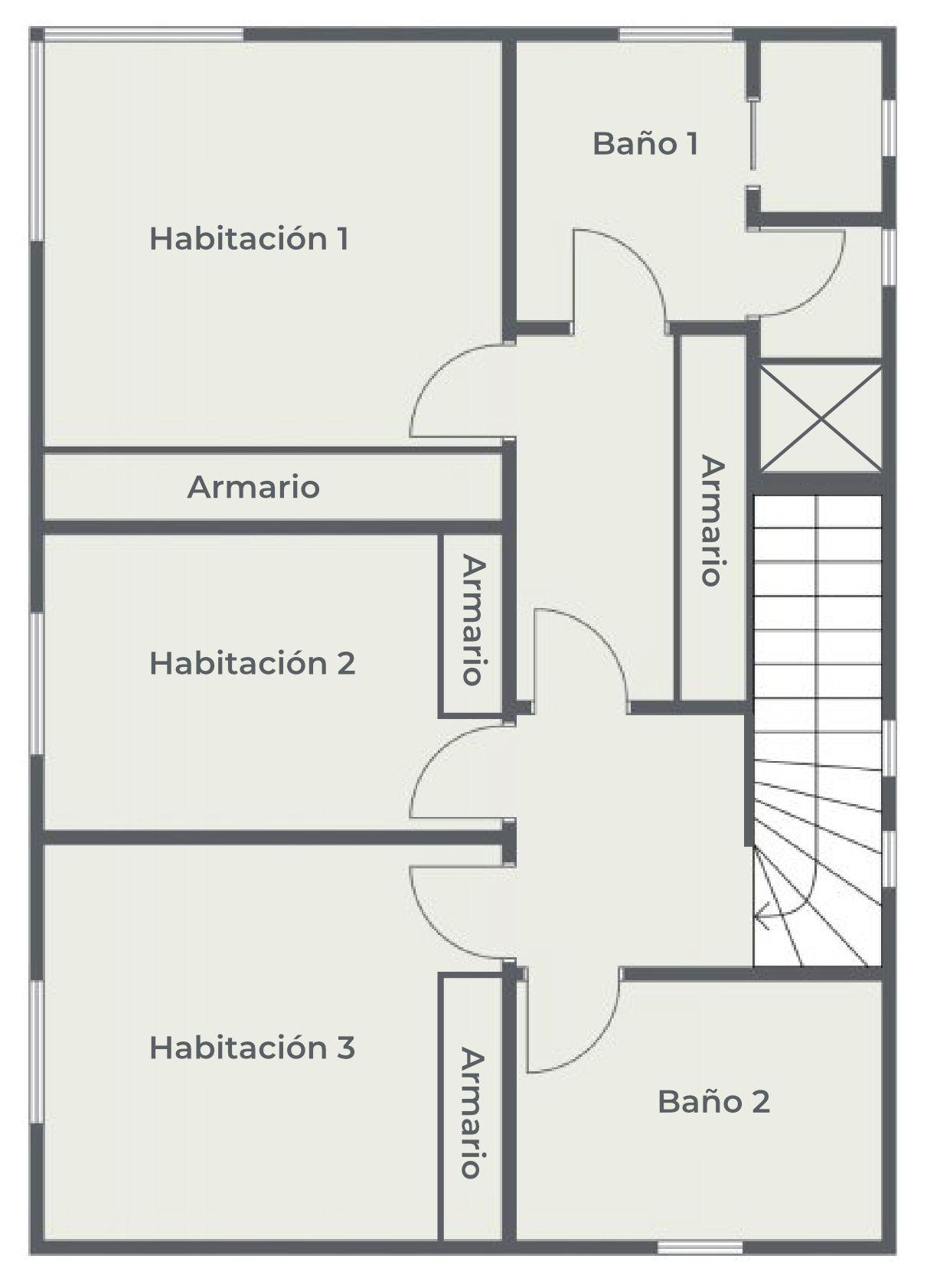 La Casa Azul - Tegueste. Plano de planta. Planta alta